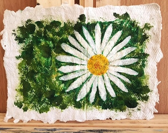 Daisy on home-made paper