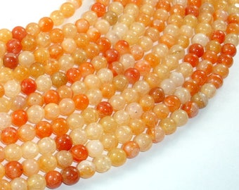 Dragon Vein Agate Beads-Orange, 6mm(6.3mm) Round Beads, 15 Inch, Full strand, Approx 63 beads, Hole 1mm (122054072)
