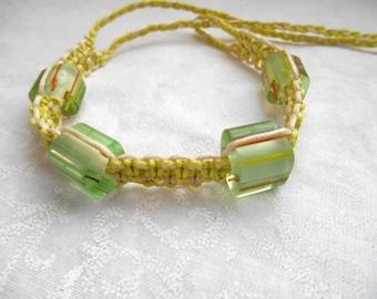 Soft Green Song, macrame, modern macrame, macrame bracelet, cotton bracelet, metal-free jewelry, nonmetal jewelry, spring colors, stripes