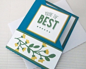 You're the best card handmade stamped fancy fold blue indigo yellow flower stationery greeting party supplies