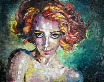 "Art Painting -  Redhead - PALETTE KNIFE -  Art Oil Painting On Canvas By Irena Rudman - Size:16"" x 20"" (40.5 cm x 51 cm)"