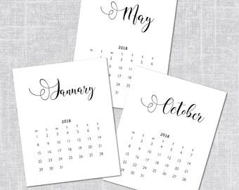 2018 Printable Calendar, 8 x 10, Calligraphy, Instant Download