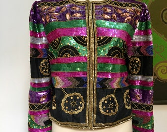 80's vintage SILK SEQUIN beaded cropped jacket Lawrence Kazar M