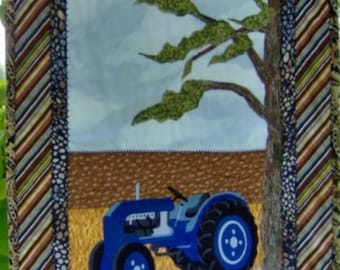 TRACTOR, QUILT, BLUE, Wall Hanging, Western Decor, Country, Farm, Man Cave, Gift for Men, Fathers Day, Birthday, Rustic, Landscape