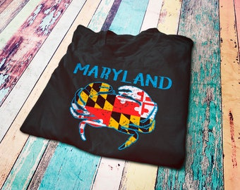 Maryland vintage state flag T-Shirt - Marylander gifts - Maryland crab shirt -  Maryland pride - Maryland graphic tee - I love Maryland