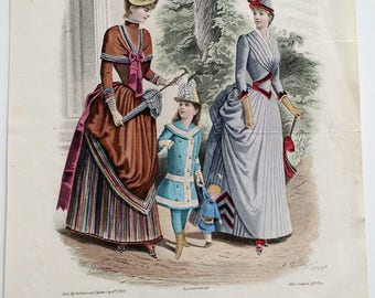 1880s FRENCH Fashion Print / La Mode Illustree Hand Colored Engraving / Lithograph, France, Wall Art, Women Clothing, Victorian, Antique