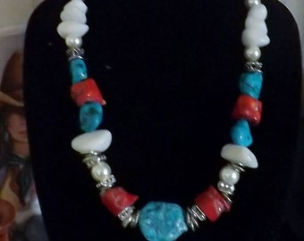 Sensational Southwest Turquoise and Coral Necklace