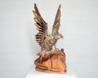 Vintage wooden hand carved eagle Made in USSR in 1970s Soviet wooden souvenir Wood Carving