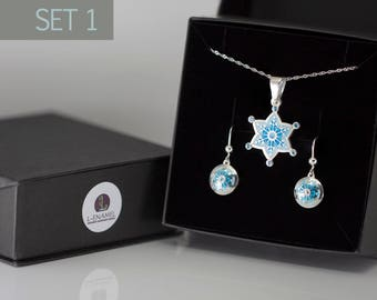 Jewelry Set gift for Her New Year Present Christmas jewelry Silver set gems Necklace Snowflake Earrings Snowflake winter set black friday