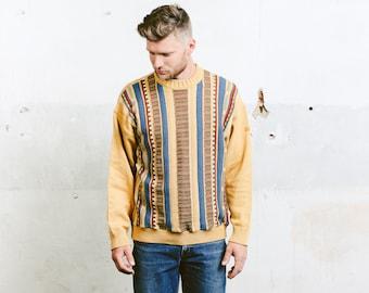 Pierre Cardin Men Sweater . Vintage Striped Abstract Minimalist 90s Geometric Winter Pullover Boyfriend Gift . size Medium M