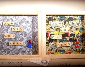 Mum/Dad Hero Box Frames - Superman/Batman/Batgirl/Wonder Woman (Mothers Day/Fathers Day Gifts)