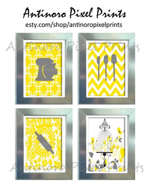 Yellow white grey unframed kitchen utensils art collection for Yellow gray kitchen ideas