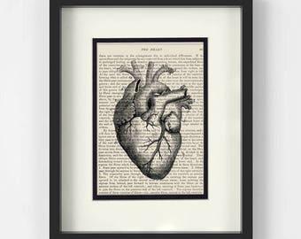 Vintage Heart Illustration over Vintage Medical Book Page - Cardiology, Cardiologist Gift, Medical Student Gift, Doctor Gift, Heart Surgeon