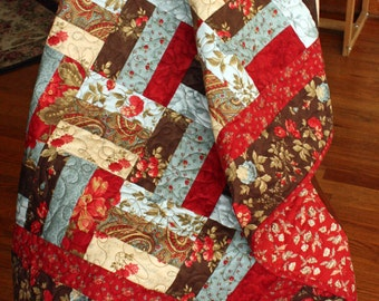 """PDF Pattern for the """"Double Chocolate"""" Rail Fence Lap Quilt (or Baby Quilt) 38 x 50"""""""