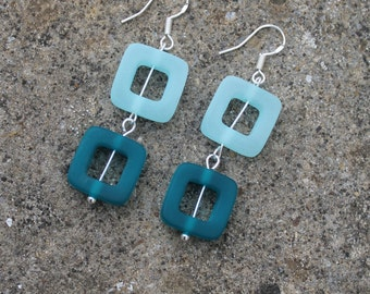 Sea Glass Teal Sterling Silver Earrings