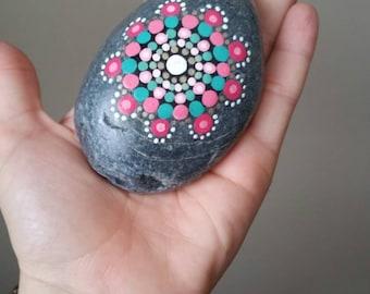 """Hand Painted Mandala Stone - """"Misty"""""""