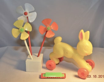 60's Rabbit pull toy Empire Plastic Blowmold ,Vintage Easter Decorations,50's Lot,3 Pinwheels,Plastic Toy Harmonica Marked Hong Kong