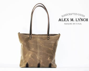 BIG SALE 33% OFF - Waxed Canvas tote - heavy weight water resistant Twill and genuine leather accents - 010063