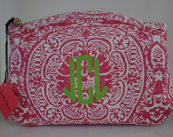 monogrammed hot pink medallion cosmetic bag