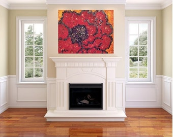 24 x 36 red blossom  (canvas painting)