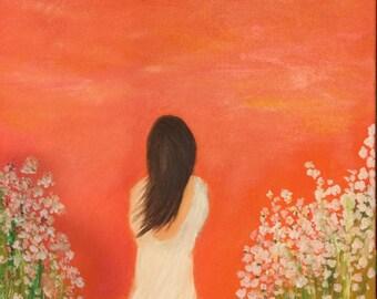 "Woman Waiting Original Oil Painting 20""x16"""