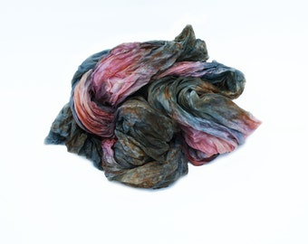 pink silk scarf -  Rose Kingdom - pink, grey, green-blue, brown silk scarf.
