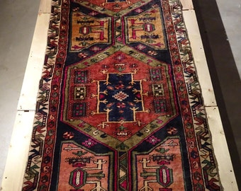 "Vintage Persian Rug 1940's MESHKIN 3' 4"" x 9' 8"" Handmade, Hand-knotted, Natural Dyes, Bohemian, Boho Chic, Made in Iran 834m"