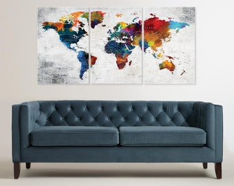 World map canvas etsy world map canvas push pin travel world map colorful world map decor home gift office decor living room decor world map wall art gumiabroncs