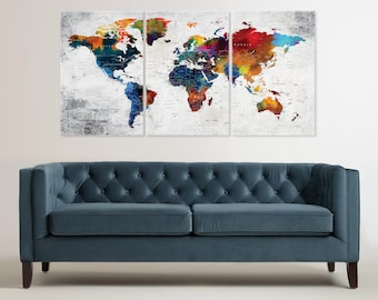 World Map Canvas, Push Pin Travel World Map, Colorful World Map Decor, Home  Gift, Office Decor, Living Room Decor, World Map Wall Art
