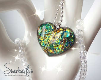 Green and gold resin necklace, green gold pendant, dichroic glass effect, resin necklace, womens resin jewellery, Gifts for women