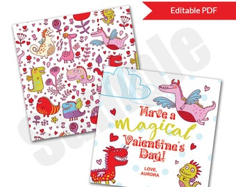 Dragon Magical Valentine's Day Card Tag Editable PDF Printable for Classroom Exchange