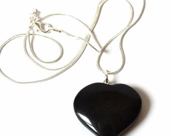 Black Obsidian Heart Pendant Necklace Gift Wrapped