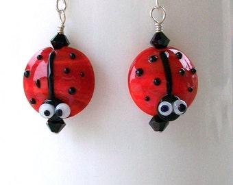 Swarovski Crystal and Ladybug Lampwork Beaded Dangle Earrings    ooak  srajd  handmade  nature