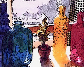"COLORED GLASS Bottles in the Window Blue, Green, Yellow and White 8x10"" Matted Print"
