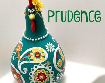 chicken, hen, rooster, bird, gourd, gourd art, hand painted, paisley, teal, yellow, chicken lover