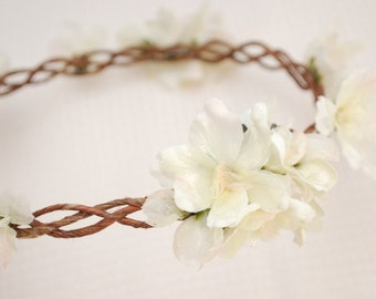 Wedding hair wreath, ivory flower circlet, woodland flower crown, bridal hair accessory by gardens of whimsy - voyager
