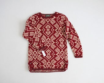 wool and silk sweater | red ethnic sweater | vintage Ralph Lauren sweater