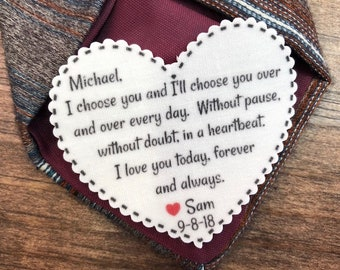 "GROOM TIE PATCH - Groom Gift - I Choose You, Without Pause, Without Doubt, In a Heartbeat, Iron On, Sew On, 2.25"" Heart Shaped Patch"