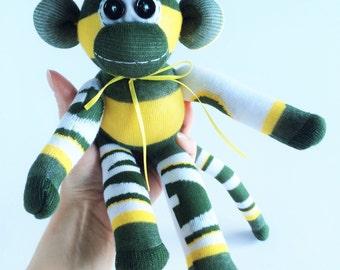 Green Bay Packers - Mini Sock Monkey - NFL - National Football League - Wisconsin Sock Monkey - Green Sock Monkey - Gold Sock Monkey - Pack