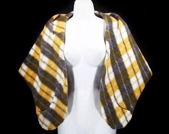 Vintage 60's Yellow & Grey Plaid Shawl