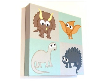 Cute Dinosaurs original painting - cartoon dino artwork on grey and green square canvas, prehistoric animals acrylic nursery art