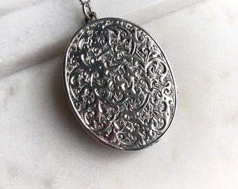 Victorian Sterling Silver Locket Pendant Necklace