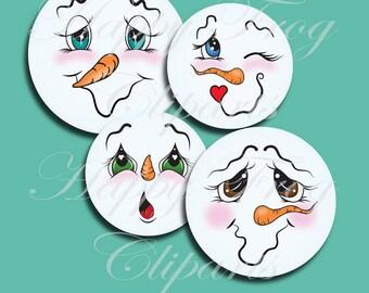 25 Snowmen Faces - Set 4 - HFC 012 - Snowmen faces, Circles, Instant download, Clipart, Graphic, Comercial Use
