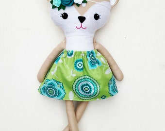 Deer doll, Dress up doll, dress up fabric doll, stuffed animal deer, deer plush doll, deer animal hair base doll, soft dress up doll