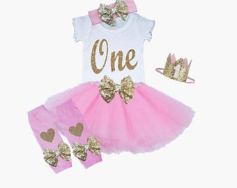 First Birthday Tutu Outfit Pink and Gold 1st Birthday Outfit Shirt Leg Warmers Hat Bow