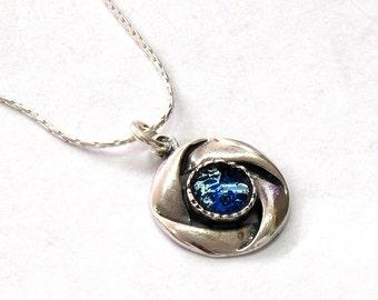 Unique Roman Glass Ribbons Design, 925 Silver Ribbons, Roman Glass Jewelry, Roman Glass Pendant, Birthday Gift, Small Round Pendant
