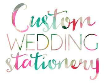 Custom Wedding Stationery Design - Custom Wedding Invitations - Unique One of a Kind Wedding Invitation Suite