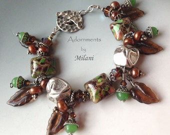 Brown Green Large Bracelet Glass Artisan Beaded Chunky Rustic Sterling Silver Woodland Flurry