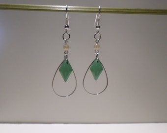 drop sequin green enamel - dangle earrings - geometric jewelry gift women teenager