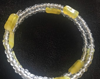 Yellow Glass Bead Memory Wire Bracelet